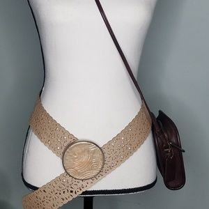 Chico's belt large buckle lace leather